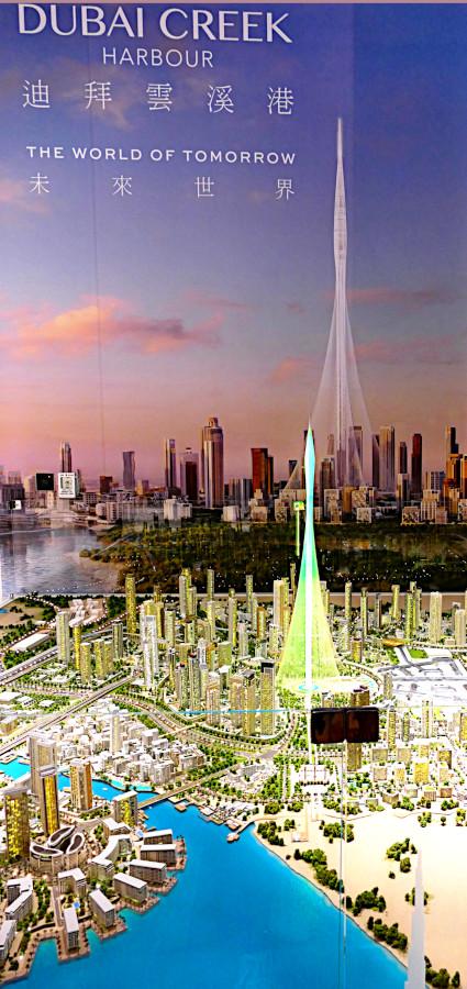 Modell von Dubai Creek Harbour mit Großprojekt The Tower