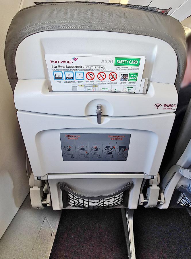Vordersitz ohne integrierten Bildschirm im Eurowings A320