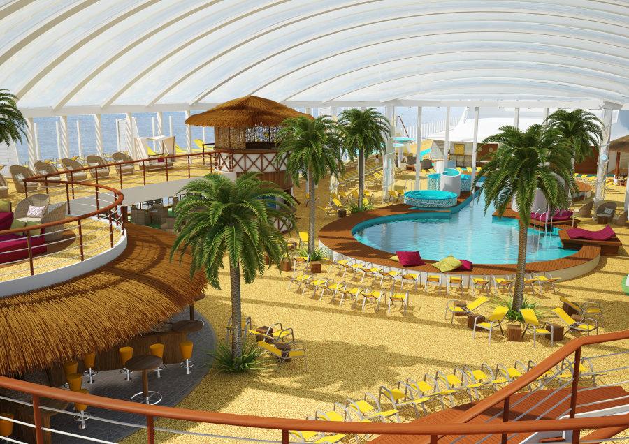Beach Club mit UV-Licht-durchlässigem Foliendom auf AIDAperla und prima