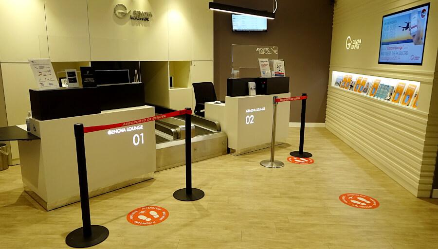 Aktuell unbesetzter Empfangsbereich der Genova Lounge