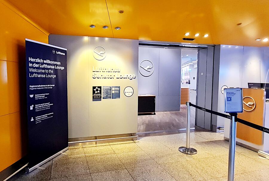 Eingang Lufthansa Senator Lounge A50 in Frankfurt