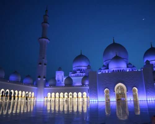 Sheikh Zayed Moschee in Abu Dhabi bei Nacht